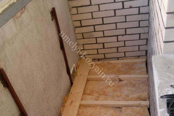 Утепление бетонного пола лоджии